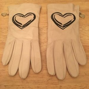 Moschino Leather Gloves with Heart Detail